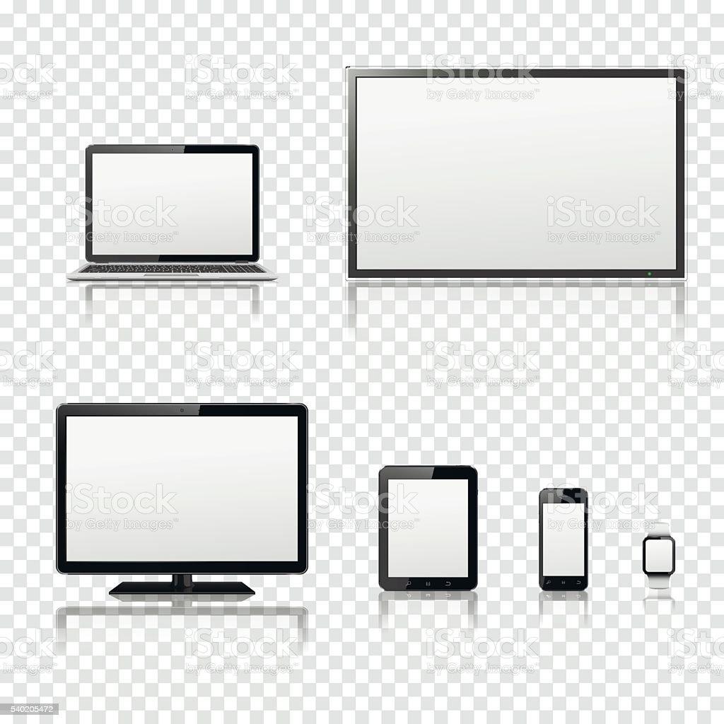 Fernseher, lcd-monitor, Laptop, Tabletcomputer, smartphone, Smartwatch – Vektorgrafik