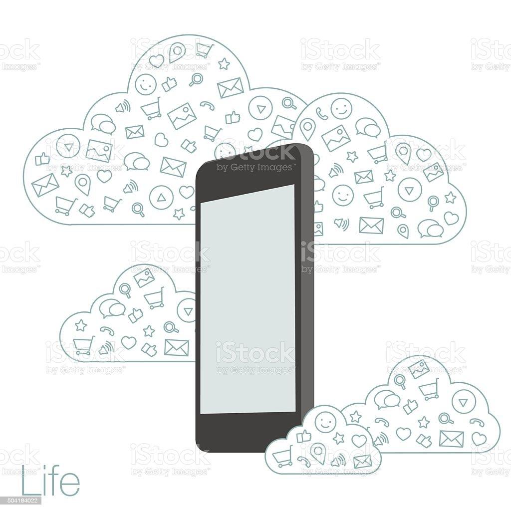 Telefono Cellulare Con Schermo Piatto Icone Su Sfondo Immagini