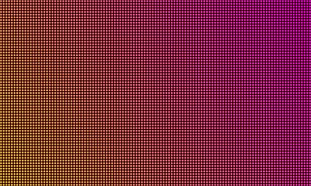 ilustrações de stock, clip art, desenhos animados e ícones de led tv screen monitor, digital diode light texture background. vector video wall led tv display, purple gradient color mesh pattern - led painel