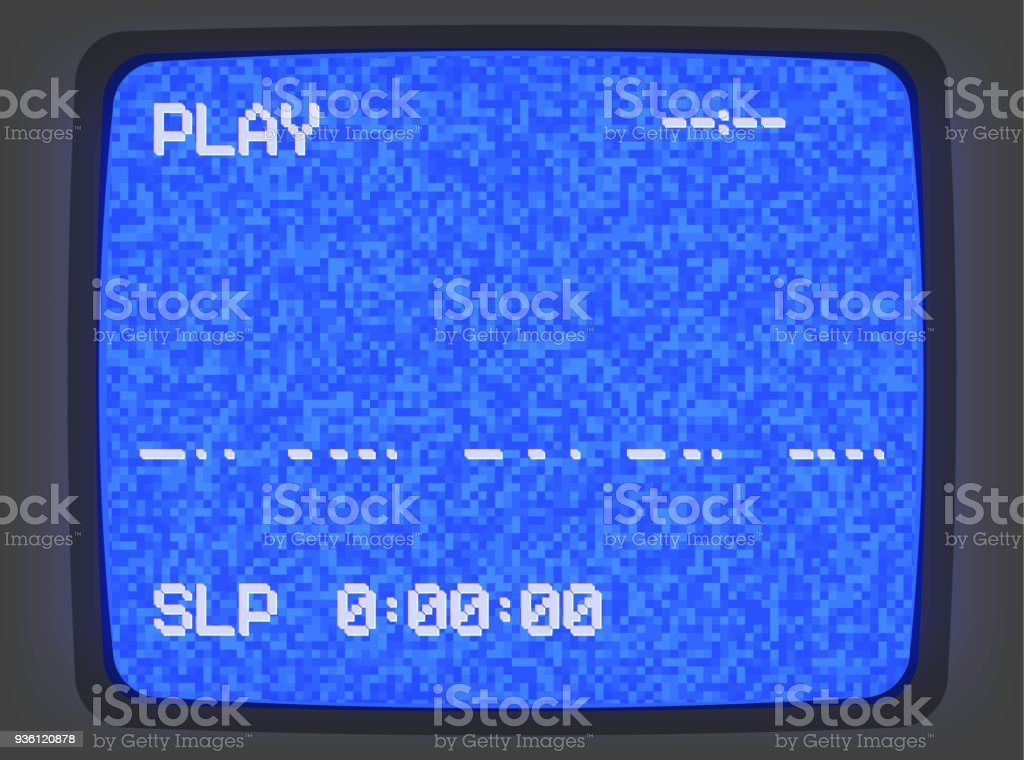 VHS screen noise_blue with signs vector art illustration