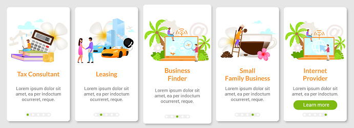 Screen of mobile app. Indonesian business mobile application. Onboarding mobile app screen flat vector template. Walkthrough website steps with characters. UX, UI, GUI smartphone cartoon interface