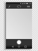 Screen of smartphone with camera interface. viewfinder display