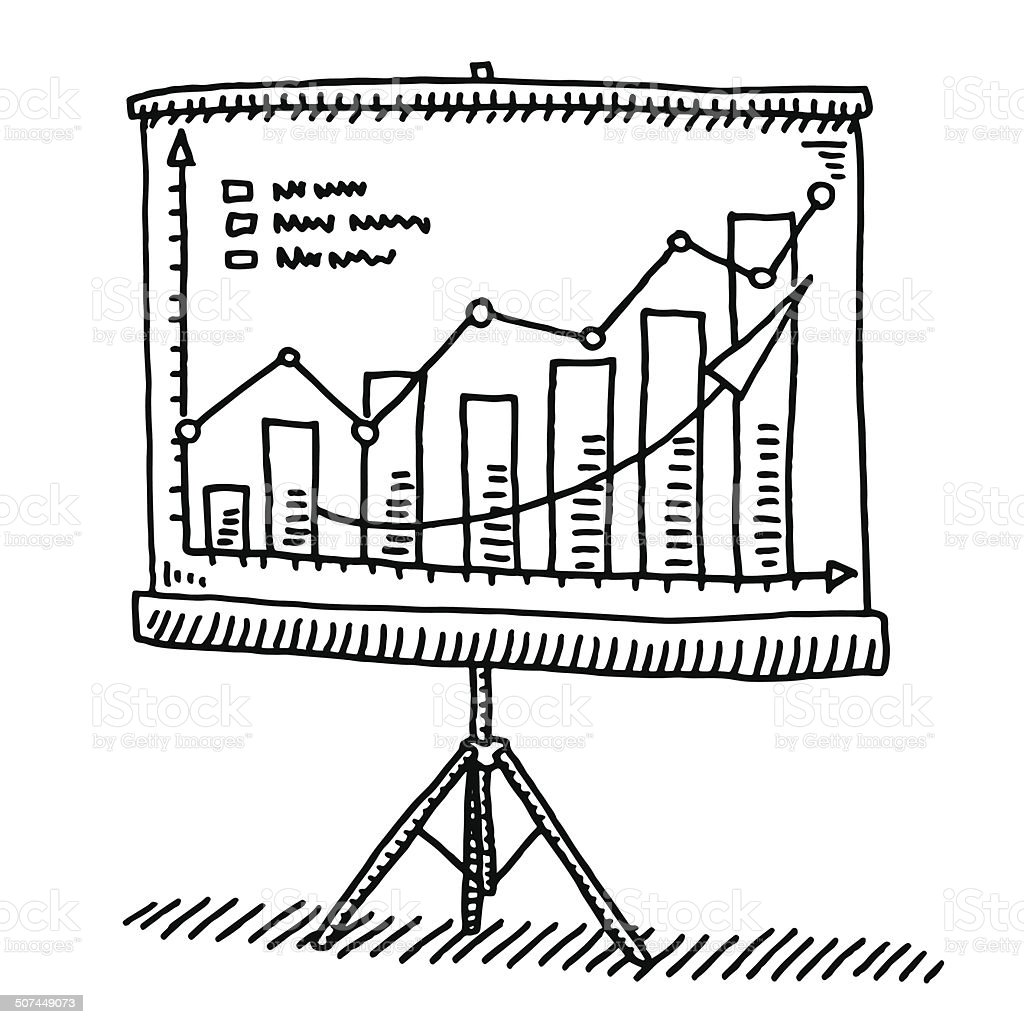 Screen Presentation Graph Success Drawing vector art illustration
