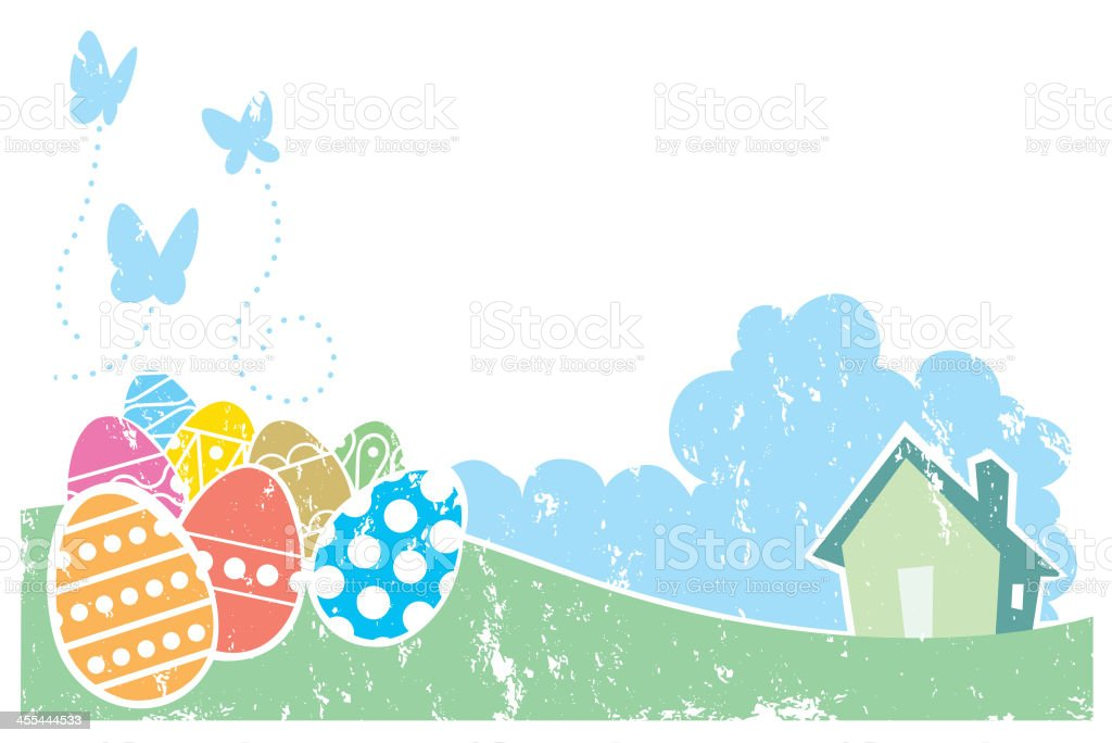 Screen print effect Easter scene royalty-free stock vector art