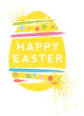 EPS 10 Vector illustration of a screen printed egg and 'Happy Easter' message.