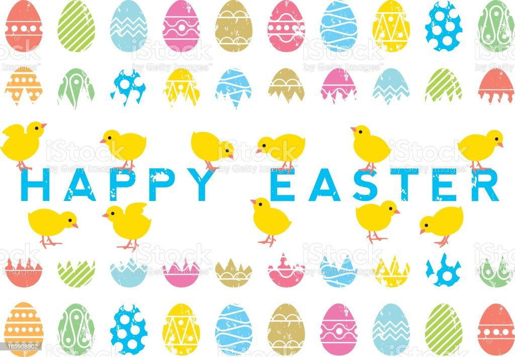 Screen print effect Happy Easter poster royalty-free stock vector art