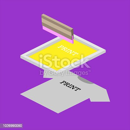 Screen printing isometric vector elements illustration. Printing on a T-shirt using a squeegee and a stencil form.