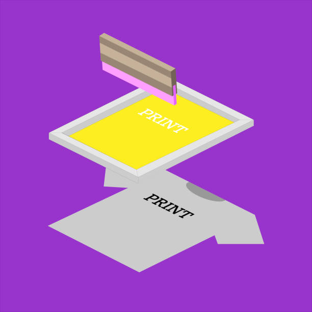 Screen printing isometric vector elements illustration. Printing on a T-shirt using a squeegee and a stencil form. Silkscreen with squeegee silk screen stock illustrations