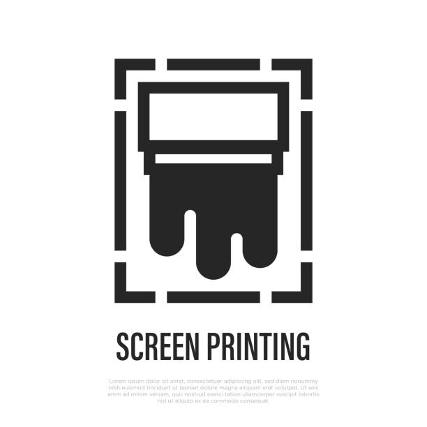 Screen printing thin line icon. Vector illustration of typography equipment. Screen printing thin line icon. Vector illustration of typography equipment. silk screen stock illustrations