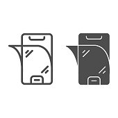 Screen protection of smartphone line and solid icon, smartphone review concept, protective film comes off phone on white background, protective glass for mobile icon in outline style. Vector graphics