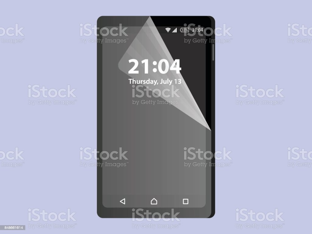 Screen Protector Film or Glass cover Crystal Clear . Vector illustration of transparent tempered glass shield for mobile phone, full screen protection ,smart protection, full body,surface, foil screen vector art illustration