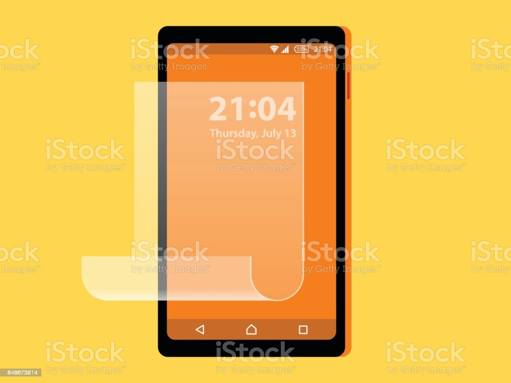 Screen Protector Film or Glass cover . Vector illustration of transparent tempered glass shield for mobile phone, full screen protection ,smart protection, full body,surface, foil screen vector art illustration