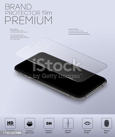 Screen Protector Glass. Vector illustration of transparent tempered glass shield for mobile phone.