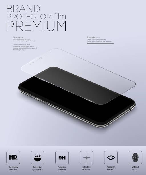 ilustrações, clipart, desenhos animados e ícones de protetor de tela de vidro. vector a ilustração do protetor de vidro moderado transparente para o telefone móvel.  ilustração isolada do vetor. - epi