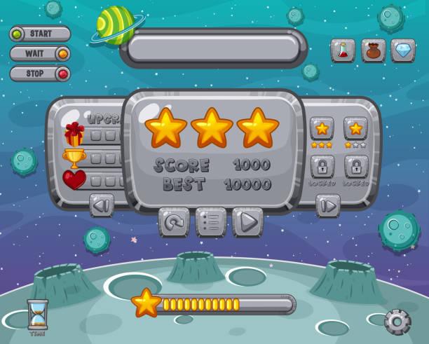 Bildschirmvorlage für Computerspiel mit Platz im Hintergrund – Vektorgrafik