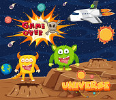 Screen template for space game with word game over illustration