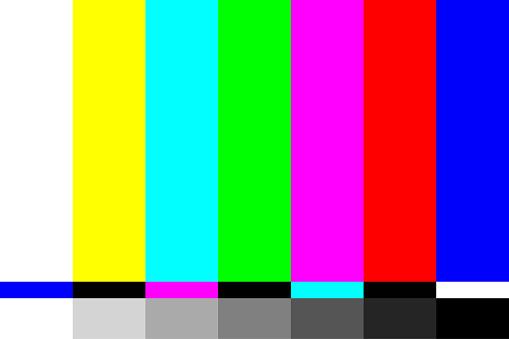 TV Screen Test. Television Test Pattern Stripes. Retro Style Screensaver. Vector Illustration
