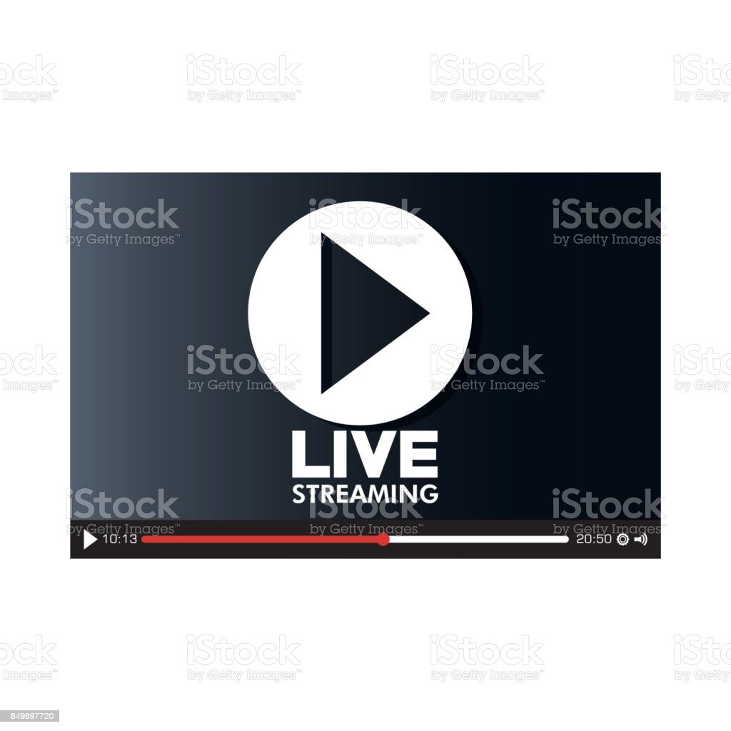 screen with live play button icon vector art illustration