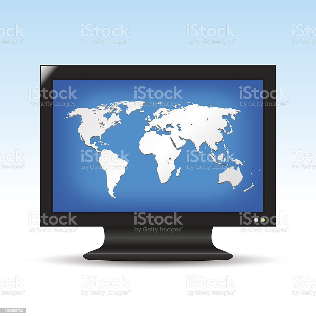 TV screen with world map royalty-free stock vector art