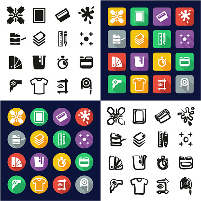 Screenprinting All in One Icons Black & White Color Flat Design Freehand Set