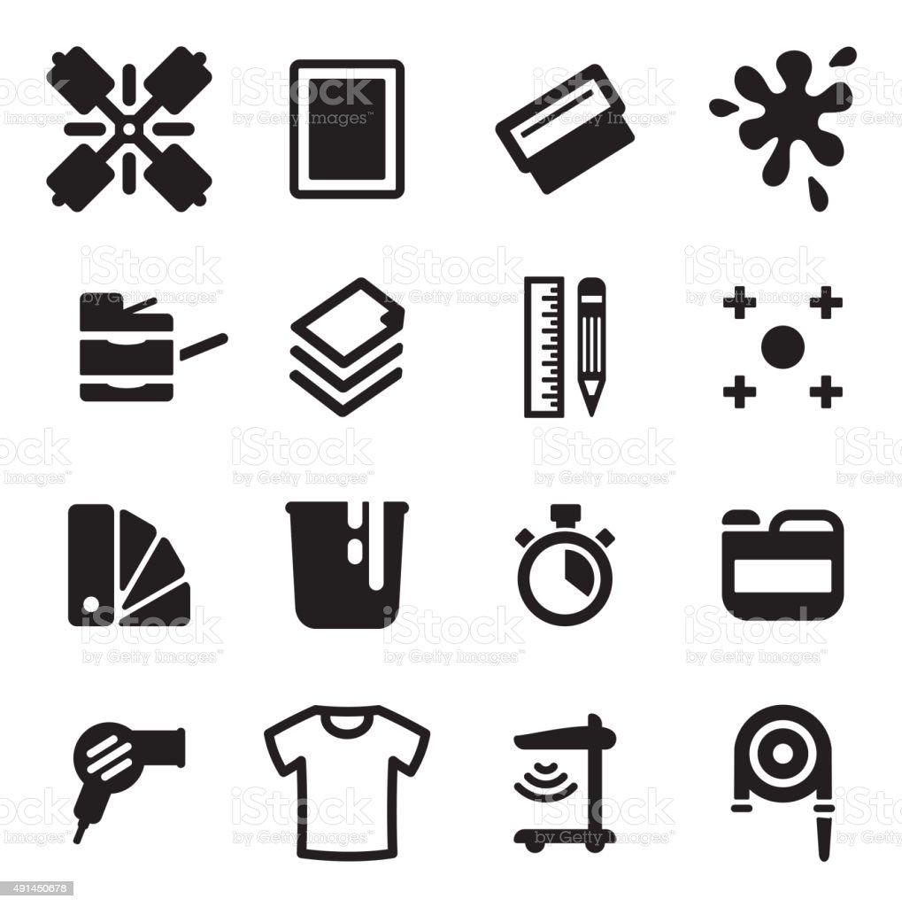 Screenprinting Icons vector art illustration