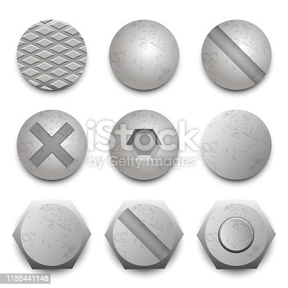 Beautiful vector design illustration of screw head bolt isolated on white background