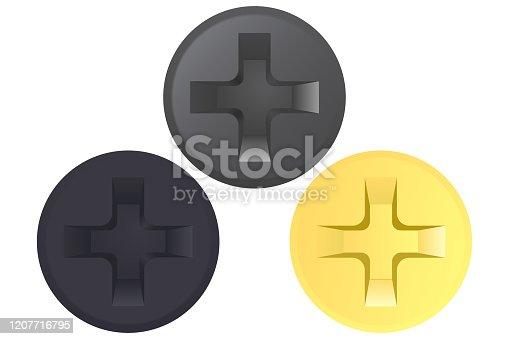Screw head. Golden and black set. Vector illustration