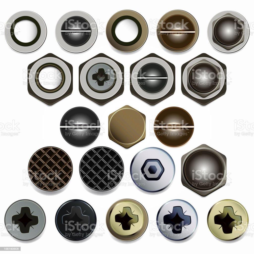 Screw head icons in different styles royalty-free stock vector art