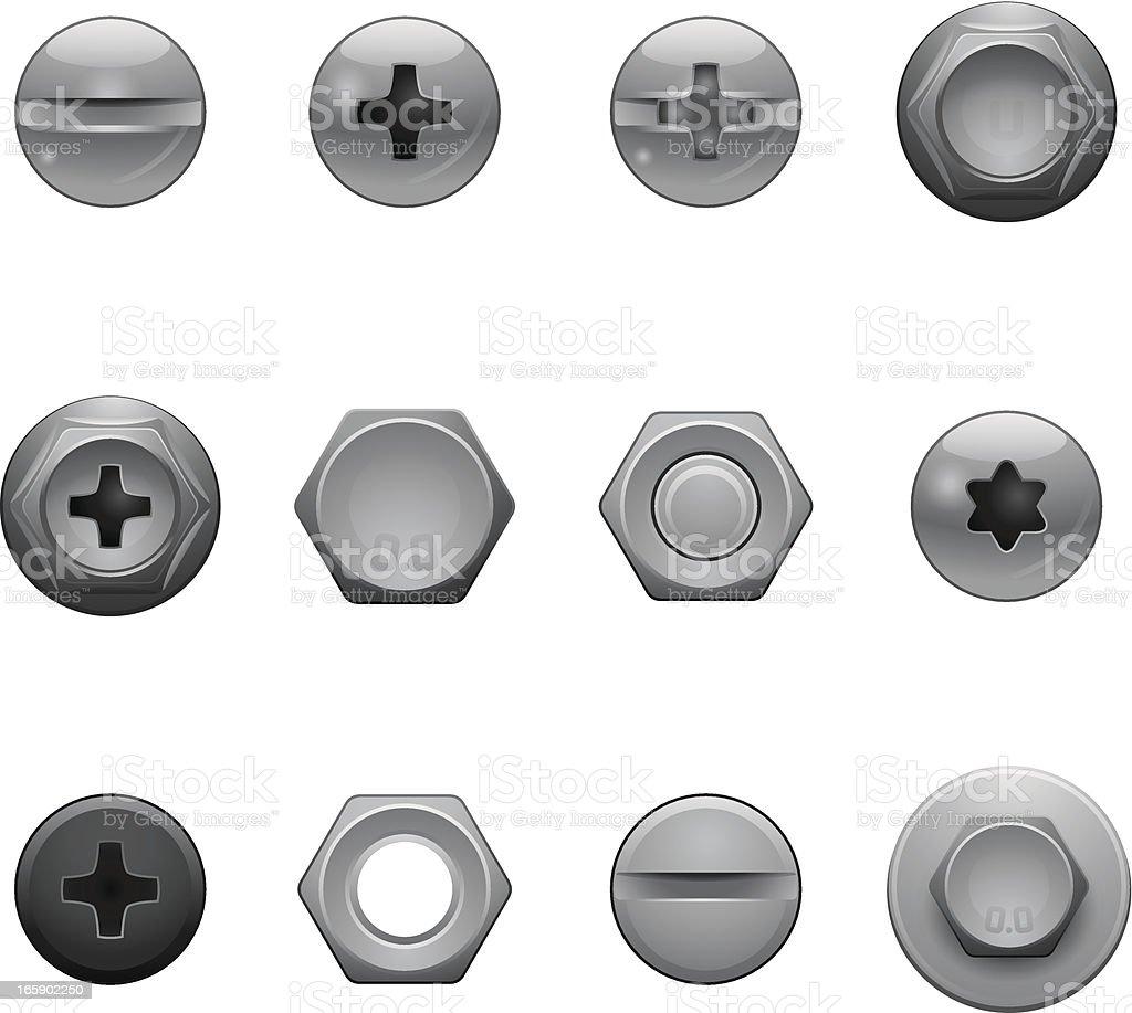 Wkręt Głowa ikony - Grafika wektorowa royalty-free (Błyszczący)