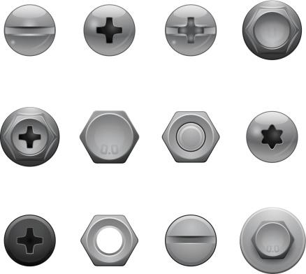 Wkręt Głowa Ikony - Stockowe grafiki wektorowe i więcej obrazów Błyszczący