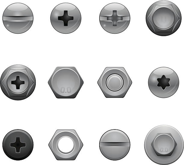 wkręt głowa ikony - nuts stock illustrations