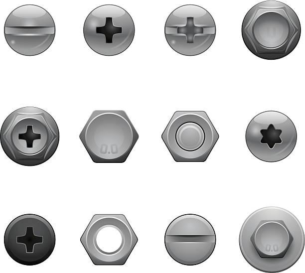 винт головки значки - nuts stock illustrations