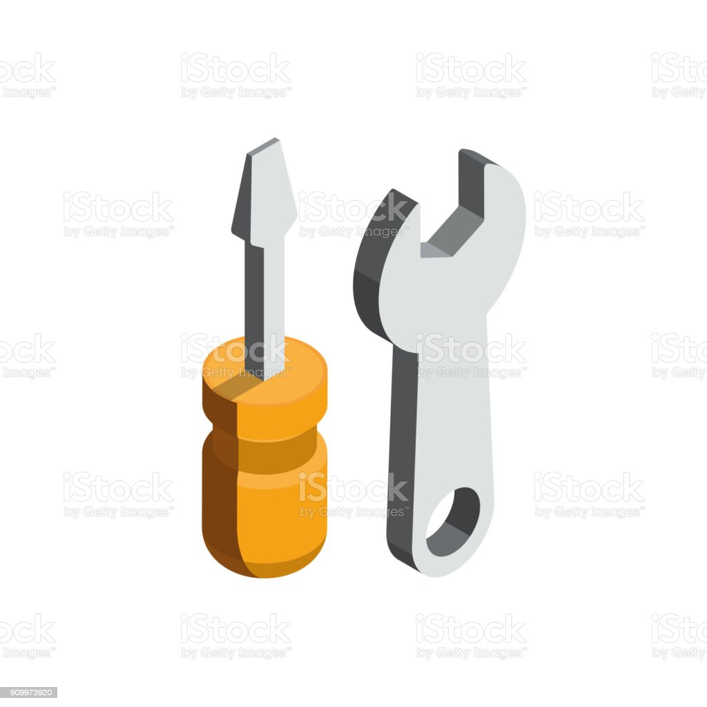 Screwdriver 3D isometric icon vector art illustration