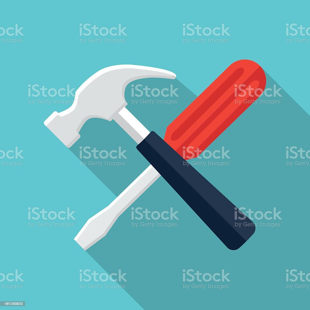 Screwdriver and hammer icon vector art illustration