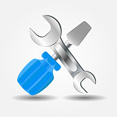 Screwdriver and Wrench icon vector illustration