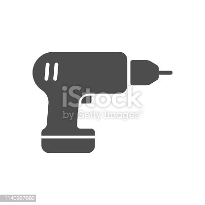 screwdriver drill vector icon isolated on white background. screwdriver drill flat icon for web, mobile and user interface design