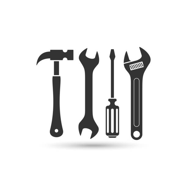 screwdriver, hammer and wrench vector icon hammer and screwdriver and wrench vector icon isolated on white background from construction collection. symbol of repair tool kit, hammer and screwdriver and wrench symbol for logo, web, app, UI. hammer and screwdriver and wrench icon simple sign. hammer and screwdriver and wrench icon flat vector illustration for graphic and web design work tool stock illustrations