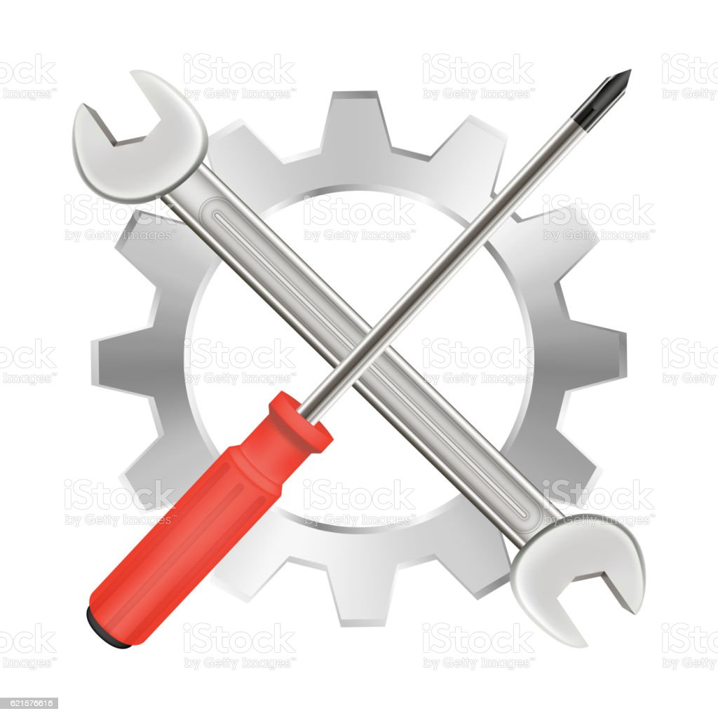 screwdriver wrench and gear repair logo screwdriver wrench and gear repair logo – cliparts vectoriels et plus d'images de acier libre de droits