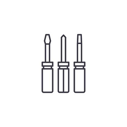 Vetores de Chaves De Fenda Definir O Conceito De Ícone Linear Chaves De Fenda Linha Conjunto Vector Sinal Símbolo Ilustração e mais imagens de Aprimoramento