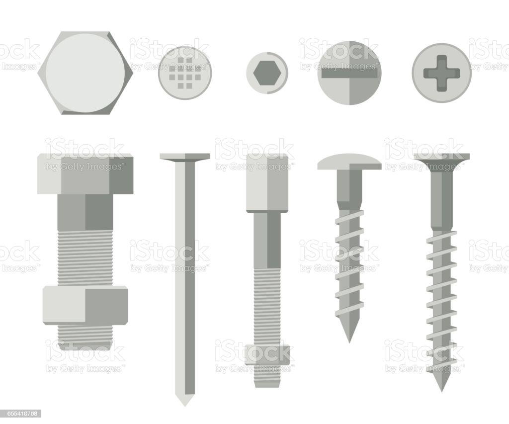 Screws and bolts vector art illustration