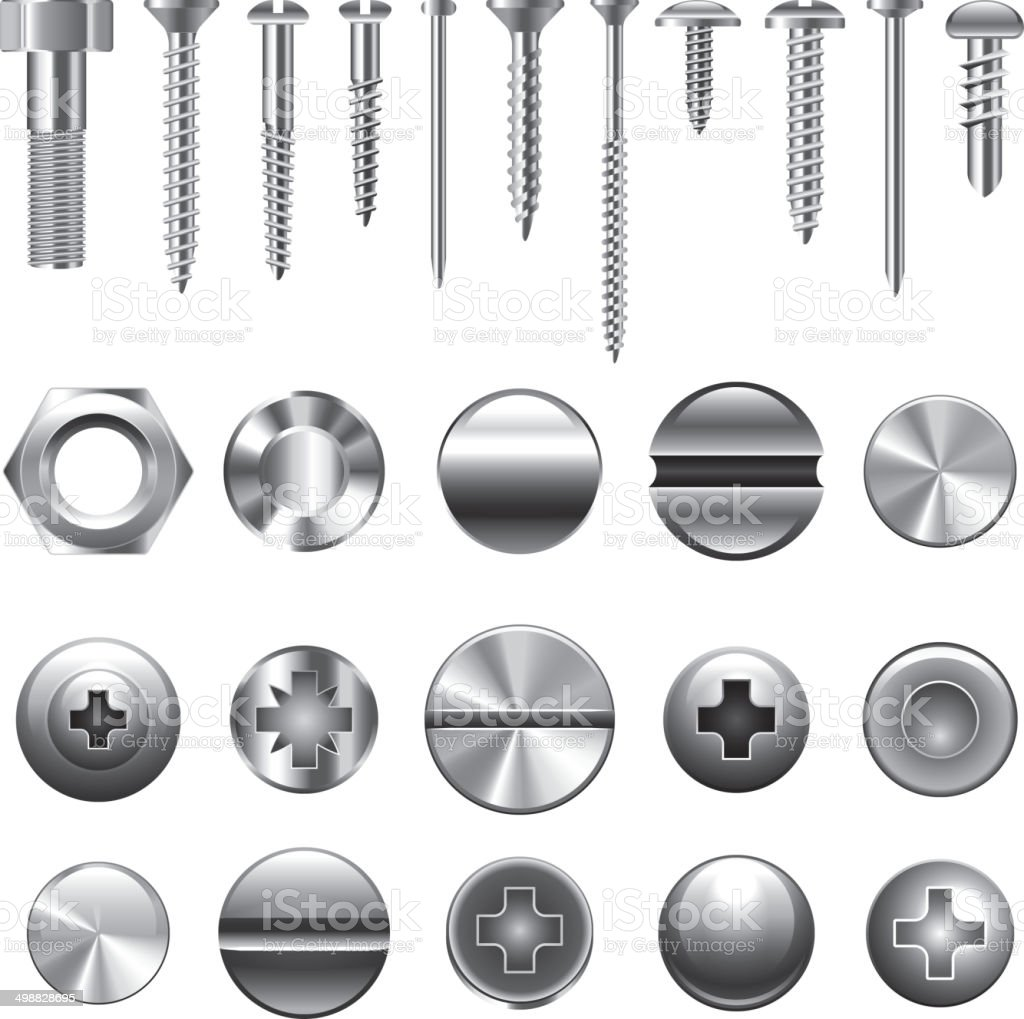 Screws and nuts icons vector set vector art illustration