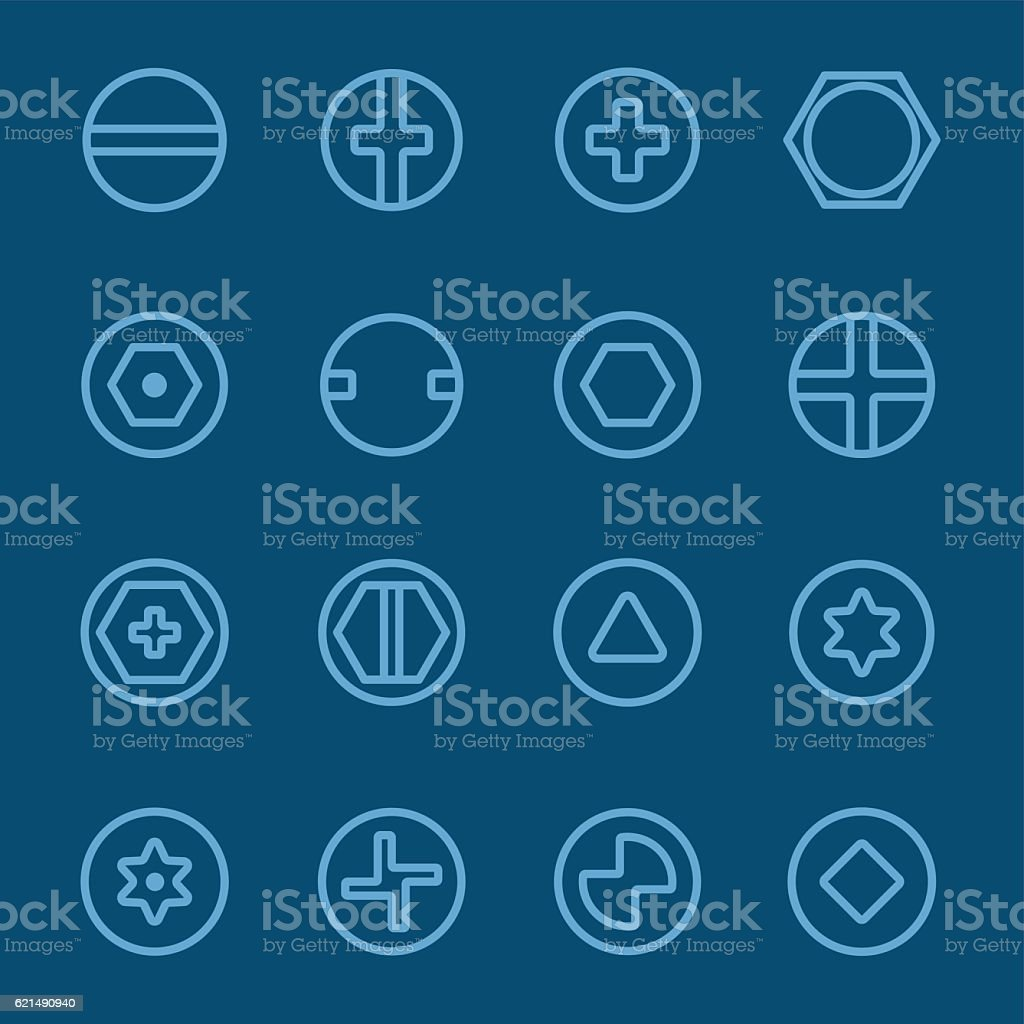 Screws head blue line icon screws head blue line icon - immagini vettoriali stock e altre immagini di a forma di croce royalty-free