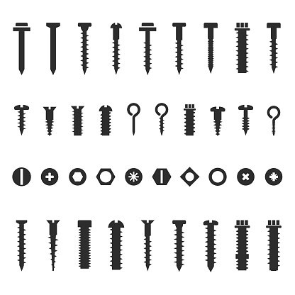 Screws,nuts and bolts icon set