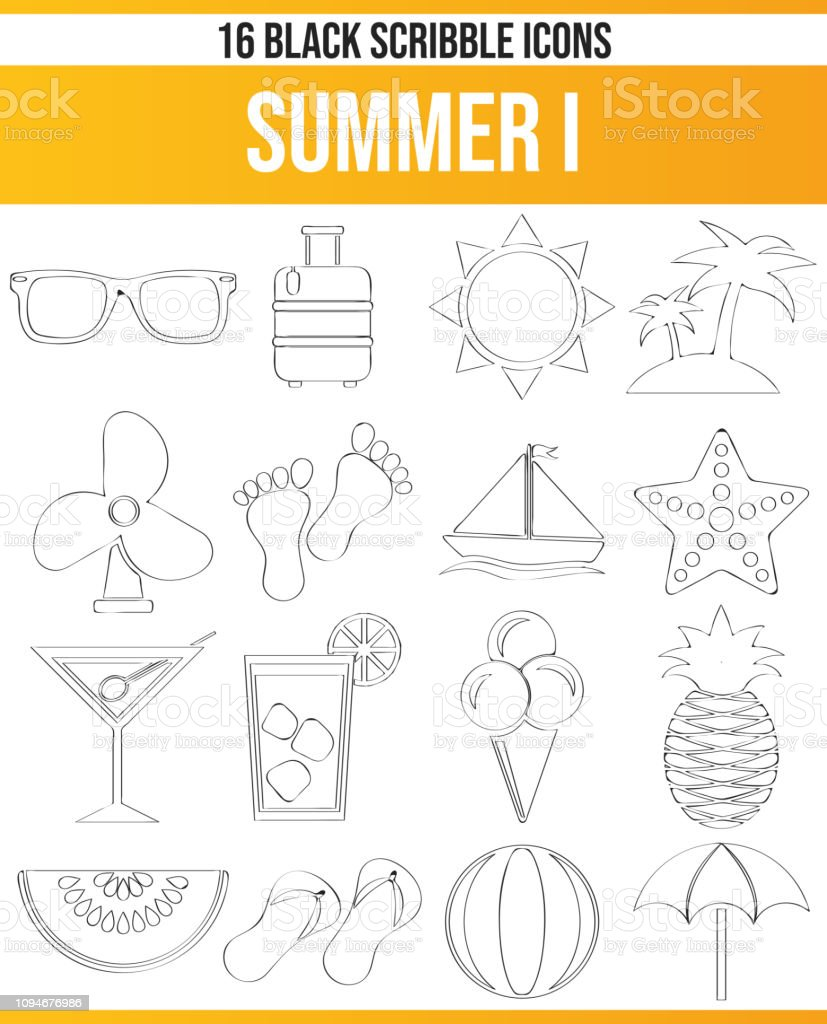 Black pictograms / icons on summer. This icon set is perfect for...