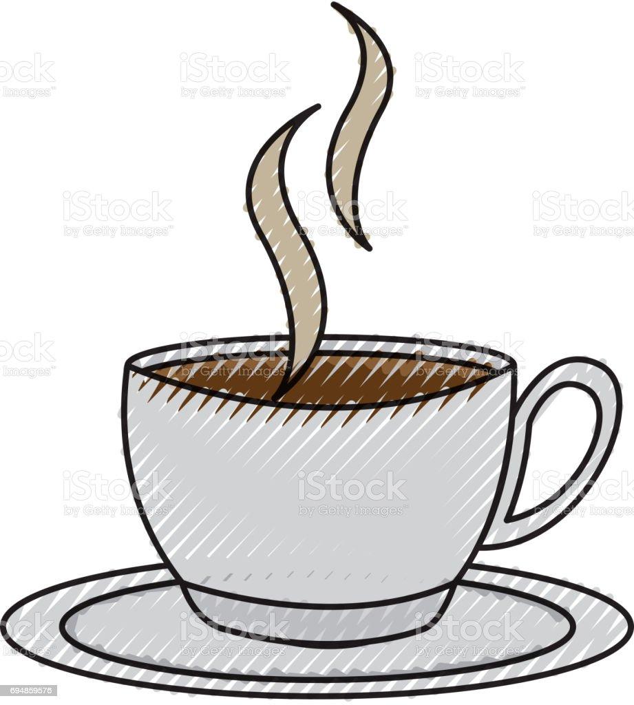 ilustração de desenho de xícara de café de rabisco e mais banco de