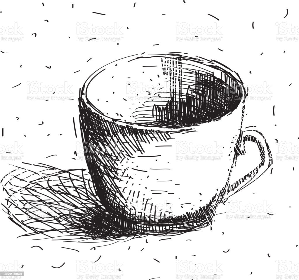 Coffee cup sketch - Scribble Coffee Cup Isolated On White Background Hand Drawing Sketch Royalty Free Stock