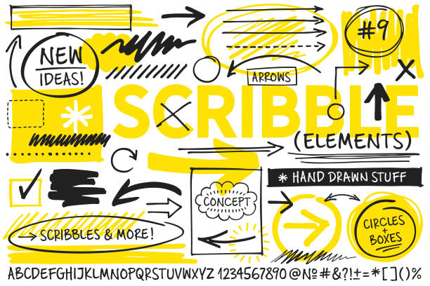 scribble design elements - alphabet drawings stock illustrations