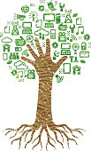 A tree and roots, the branches and trunk formed by an outstretched hand and arm. The leaves are made from a selection of symbols and icons relating to technology and computing. The image has an overall colour pencil scribbled feel, there are 3 layers of colour on the trunk and the same on the foliage. These are just simple shapes so colour changes are easy. There are just 6 shapes and colours in the image.
