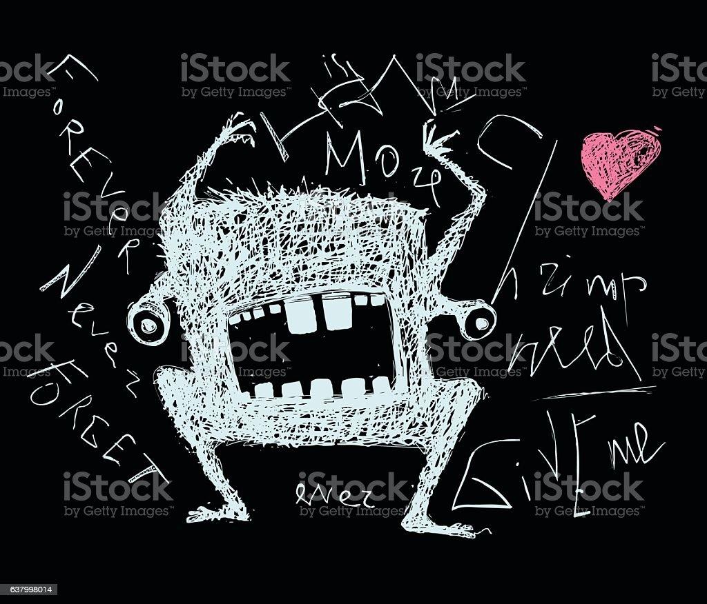 Scribble doodle scary monster on black vector art illustration