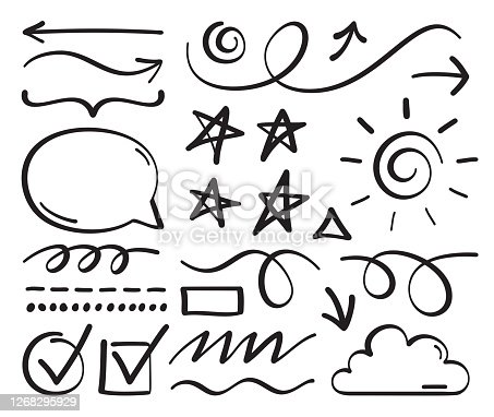 Scribble hand drawn line editing and drawing pencil and sharpie line elements vector collection.